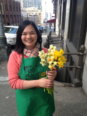 Education Leader Christine Tran helping to spread some spring cheer on Daffodil Day at 4th Ave & University St!