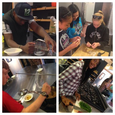 Boys and Girls Club at Rainier Vista making Southawest Quinoa Salad!